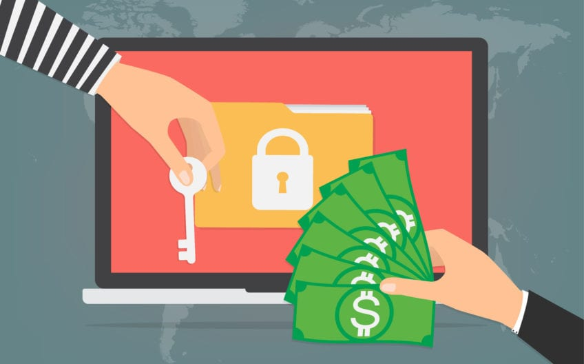 Businessman hand holding money banknote for paying the key from hacker for unlock folder got ransomware malware virus computer